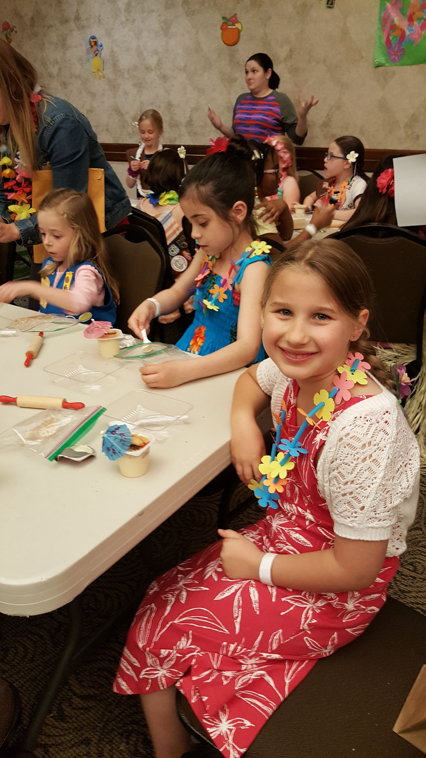 Girl Scouts working on a craft project