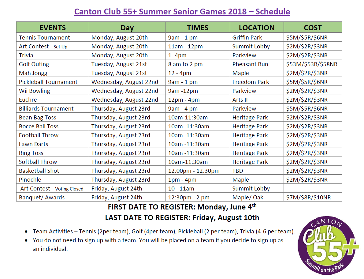Summer Games Schedule 2018
